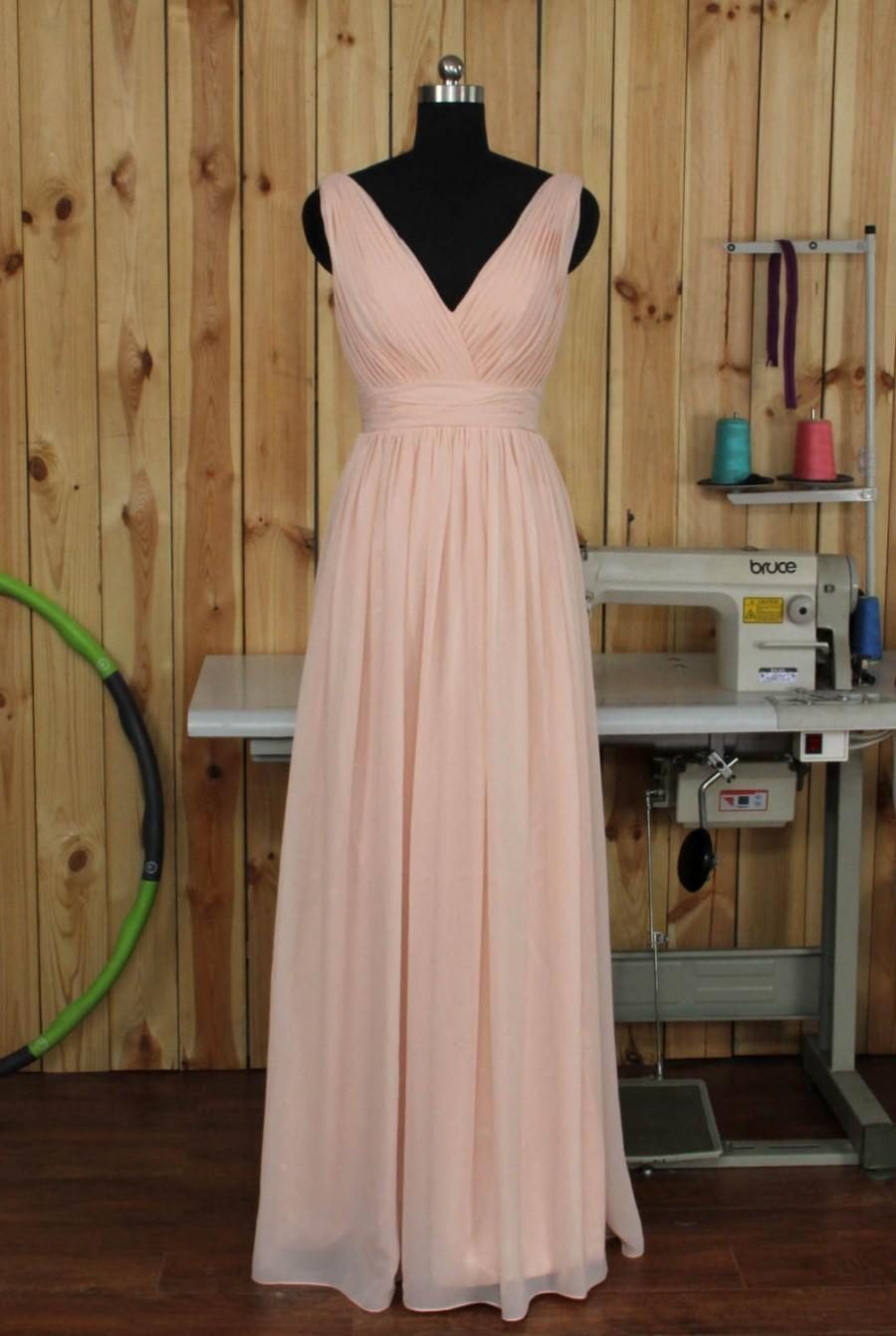 210cd95dc8 Deep V-neck V Back Pearl Pink Bridesmaid Dress