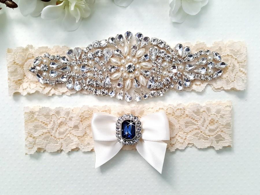 Свадьба - Wedding Garter Set, Bridal Garter Set, Crystal Garter Set, Vintage Lace Garter - Style L300
