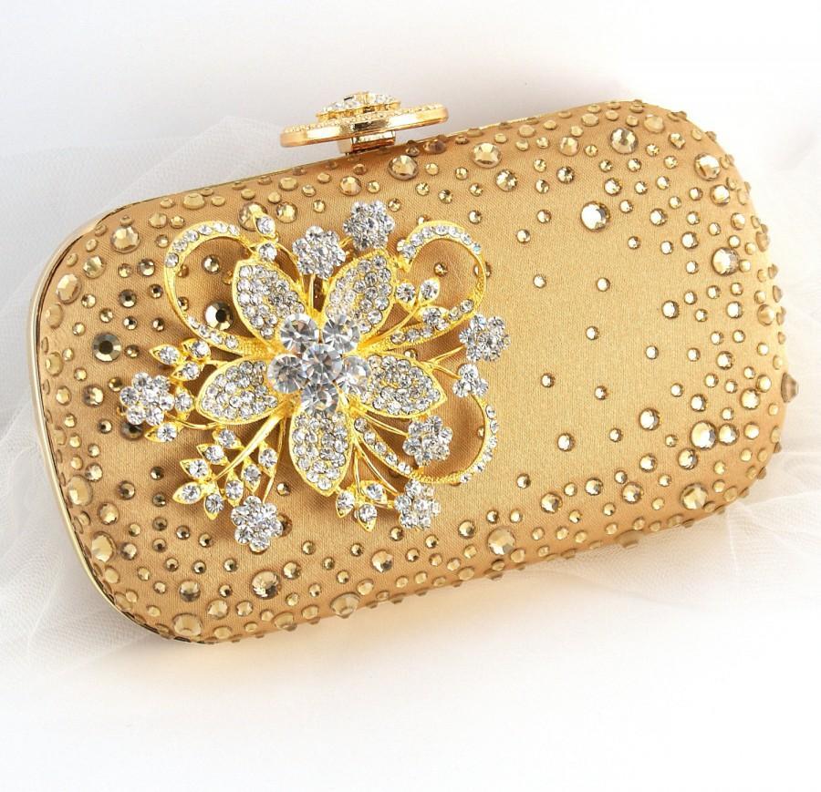 Свадьба - Gold Clutch, Golden, Crystal Clutch, Handbag, Purse, Bridal, Strap, Maid of Honor, Mother of the Bride, Rectangular, Brooch, Vintage Wedding