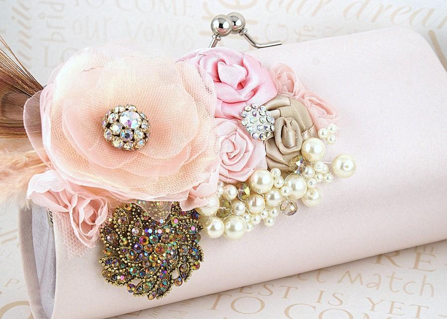 Свадьба - Clutch, Handbag, Purse, Bridal, Wedding, Mother, Blush, Pink, Gold, Champagne, Pearls, Brooch, Crystals, Feathers, Satin, Elegant