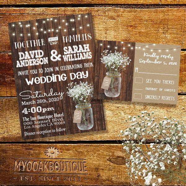 Wedding - Country Wedding invitation Rustic chic mason jar wood floral bouquet flowers digital printable Suite Invitation RSVP you print 13992