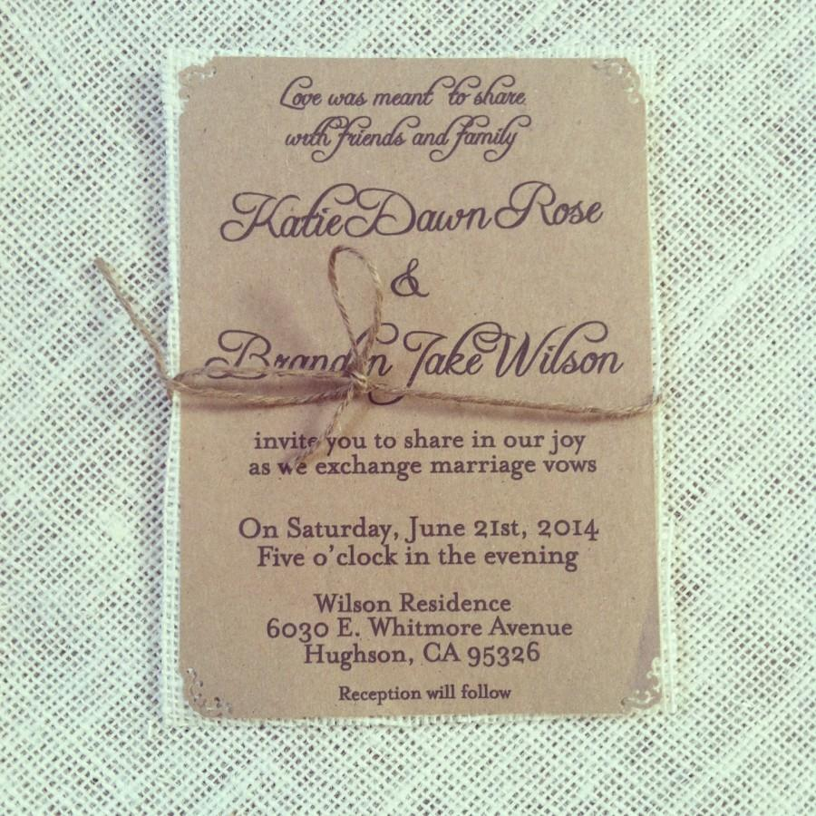 Hochzeit - Rustic Kraft Wedding Invitations with jute twine on ivory burlap- 75 Count;rsvp cards & info cards