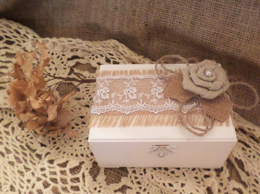 Mariage - White Rustic Ring Bearer Box