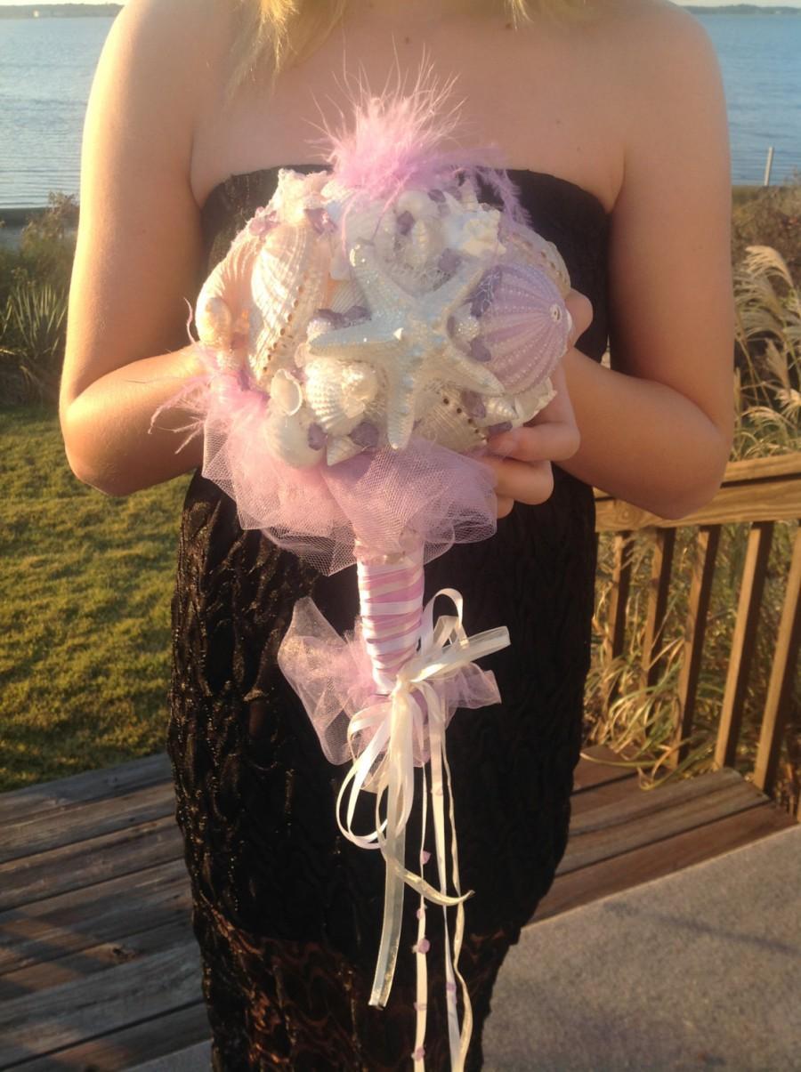زفاف - Lavender Bouquet, Sea Urchin Bouquet, Seashell bouquet, Beach Wedding