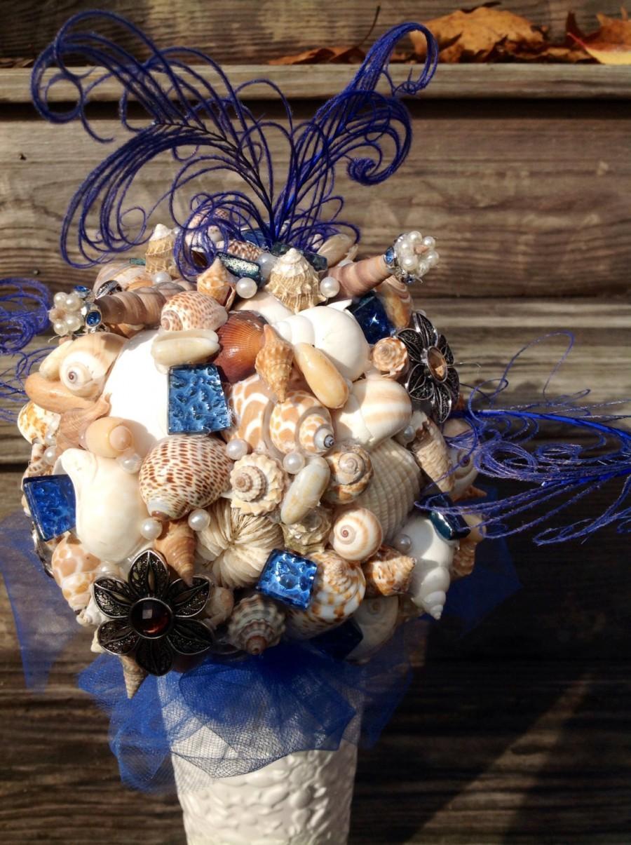 Mariage - Blue Bouquet, Seashell Bouquet, Beach Wedding, Brooch Bouquet, Shell Bouquet