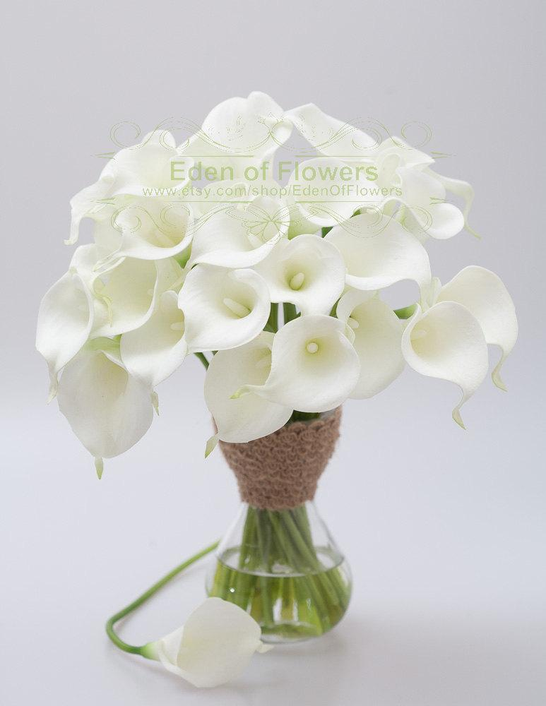 9 Pcs Real Touch Calla Lilies White Bouqets For Bridal Bouquets