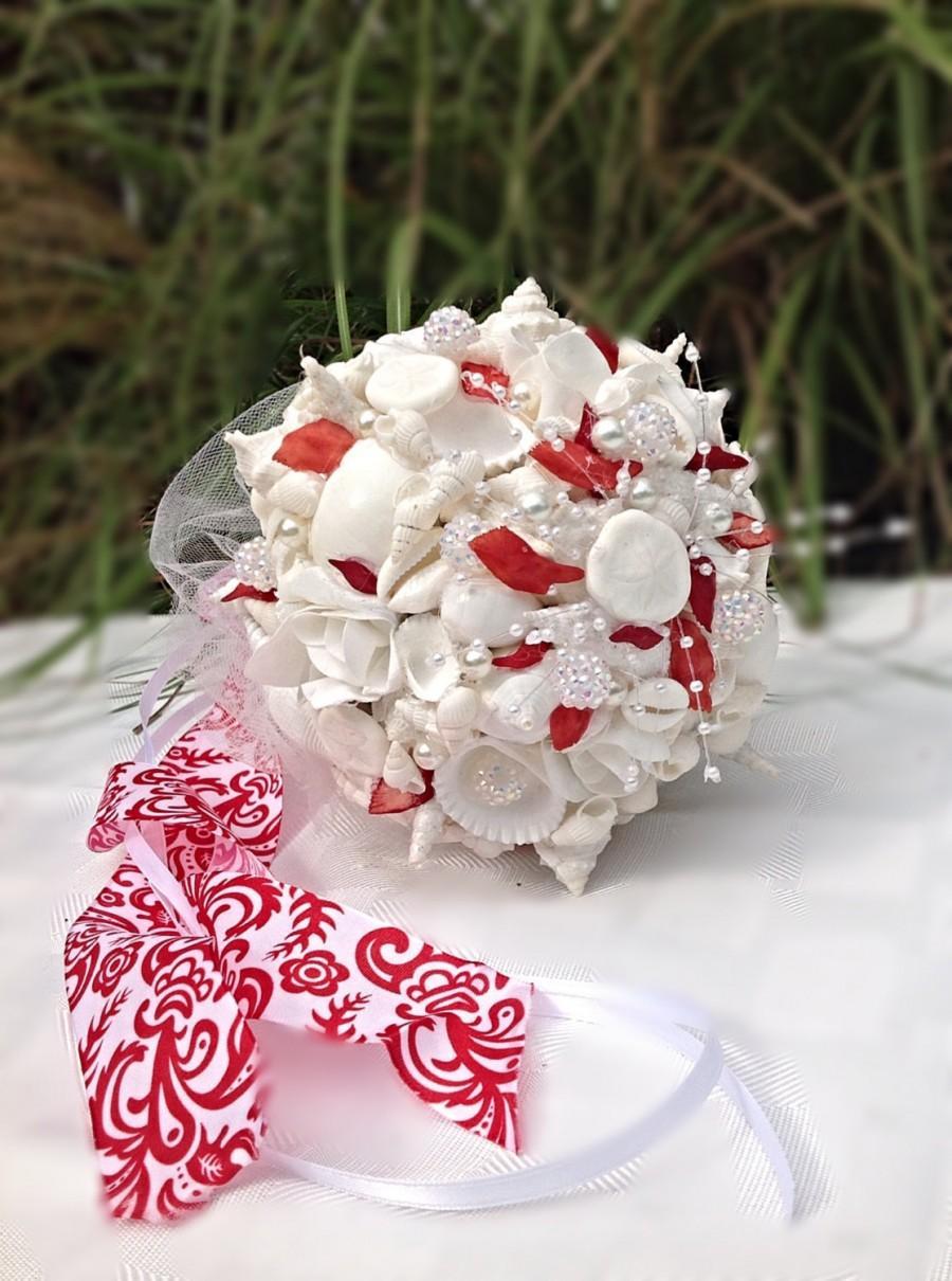 Valentine Wedding Seashell Bouquet Red White Wedding Beach