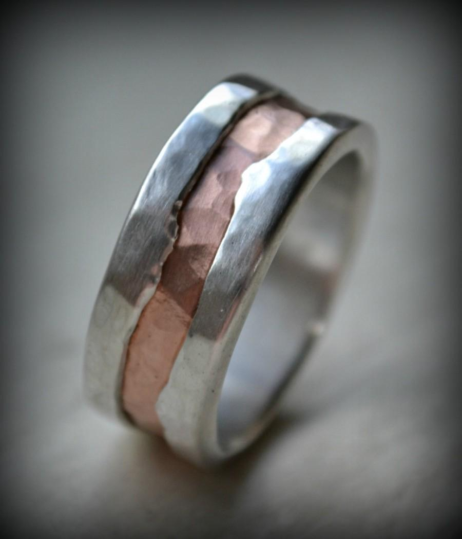 Mens Wedding Band Fine Silver And 14K Rose Gold Ring Handmade