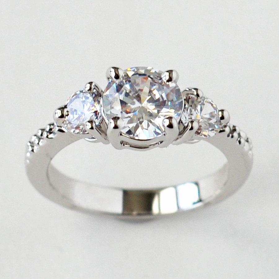 Mariage - cz ring, cz wedding ring, cz engagement ring, cubic zirconia engagement ring, 3 stone ring, anniversary ring size 5 6 7 8 9 10 - MC1083541AZ