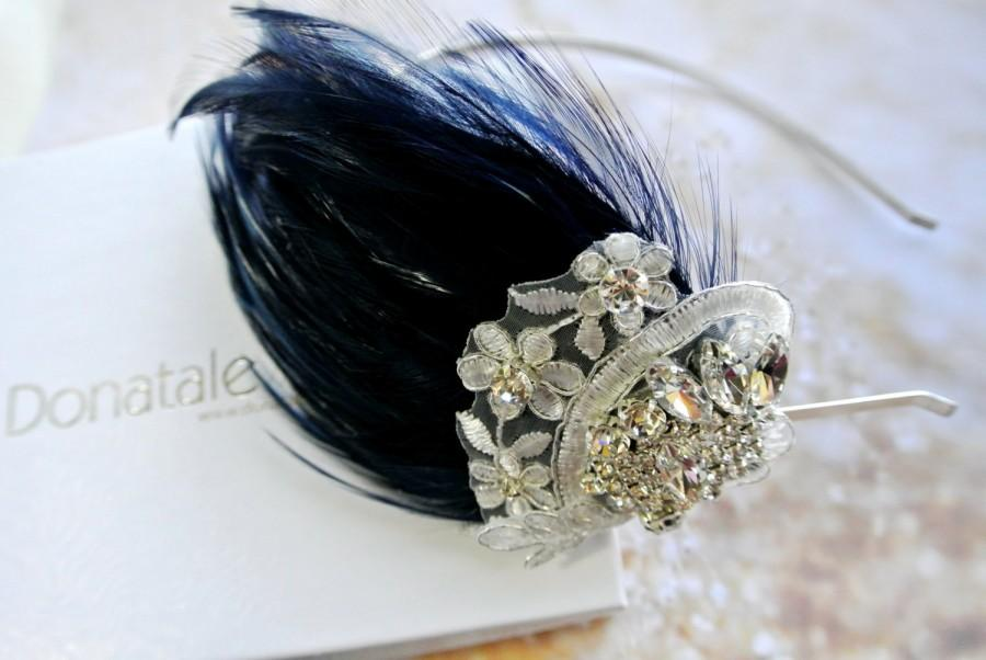 1920s Headpiece Vintage Feather Fascinator Navy Blue Lace Feather Headband  Prom Headpiece Wedding Headpiece - STELLA 09bc10498e4