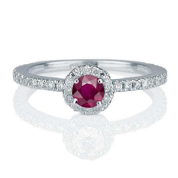 Mariage - Micro Pave Ring, Ruby Ring Vintage, 14K White Gold Ring, Halo Engagement Ring, 0.57 TCW Ruby Ring Gold, Art Deco Jewelry