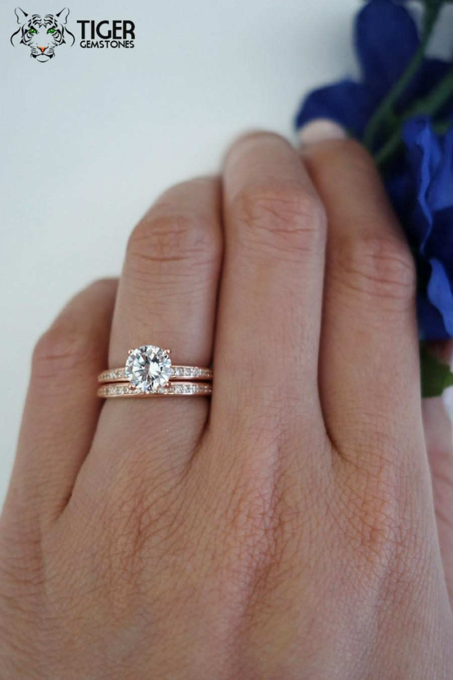 1 Carat Solitaire, 1.25 ctw Accented Wedding Set, Bridal Rings, Man Made  Diamond Simulants, Engagement Rings, Sterling Silver & Rose Gold