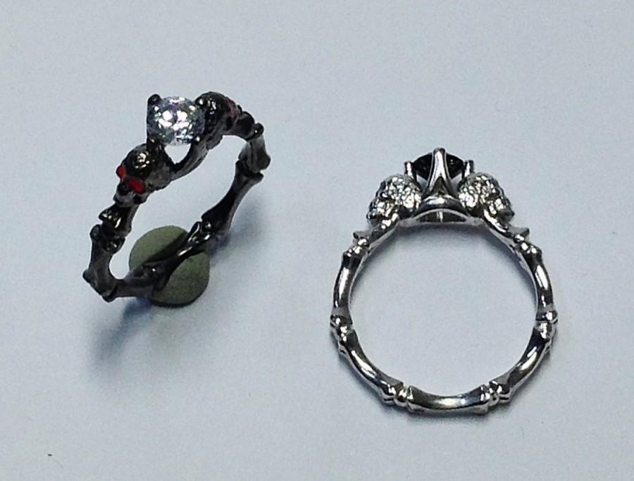 Mariage - Skull Engagement Ring - Gothic Ring - Dainty Skull Ring - Stacking Ring - 925K Sterling Silver Ring - Design Ring - valentines gifts