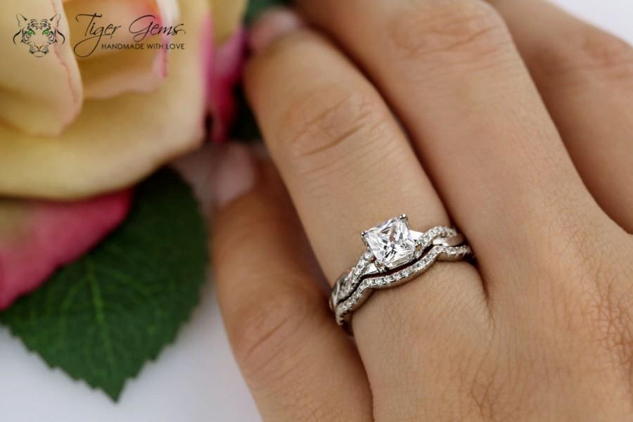 1 Ctw Princess Infinity Ring Swirl Bridal Set Half Eternity Wedding Rings Man Made Diamond Simulants Engagement Sterling Silver