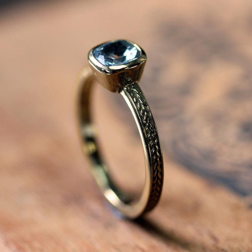 Mariage - Aquamarine engagement ring - recycled 14k yellow gold - cushion solitaire - wheat braid - made to order
