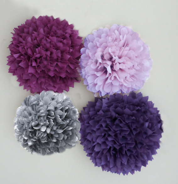 Purple Lilac Plum And Silver Grey Tissue Paper Pom Poms