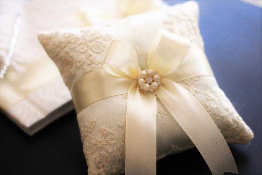 Hochzeit - Ivory Ring Bearer Pillow Lace  Ring Pillow Pearl Rhinestone Accent  Ring Pillow Alternative  Ring Holder