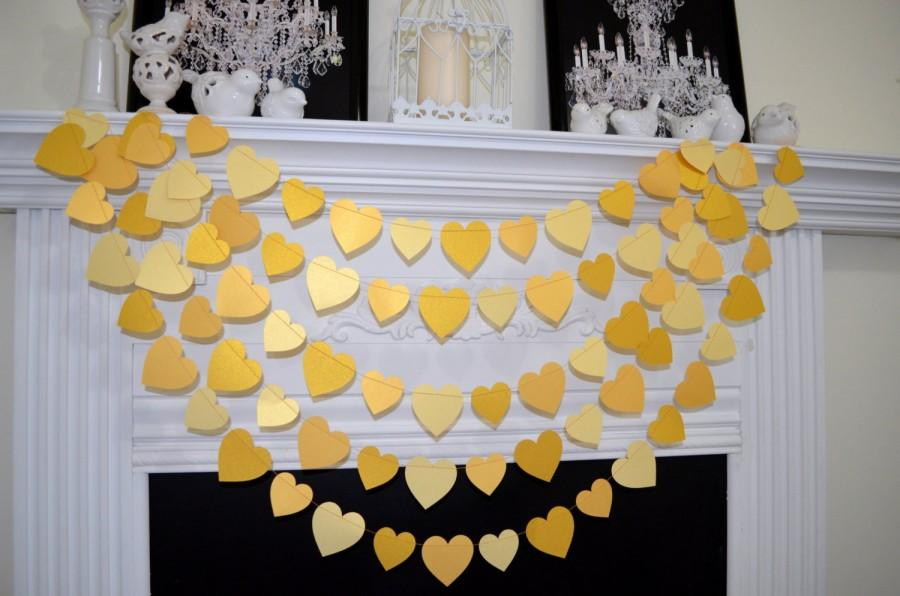 Hochzeit - Gold wedding garland, Gold garland, gold party decor, Paper garland, Birthday Decor, golden anniversary, gold wedding decor, gold heart