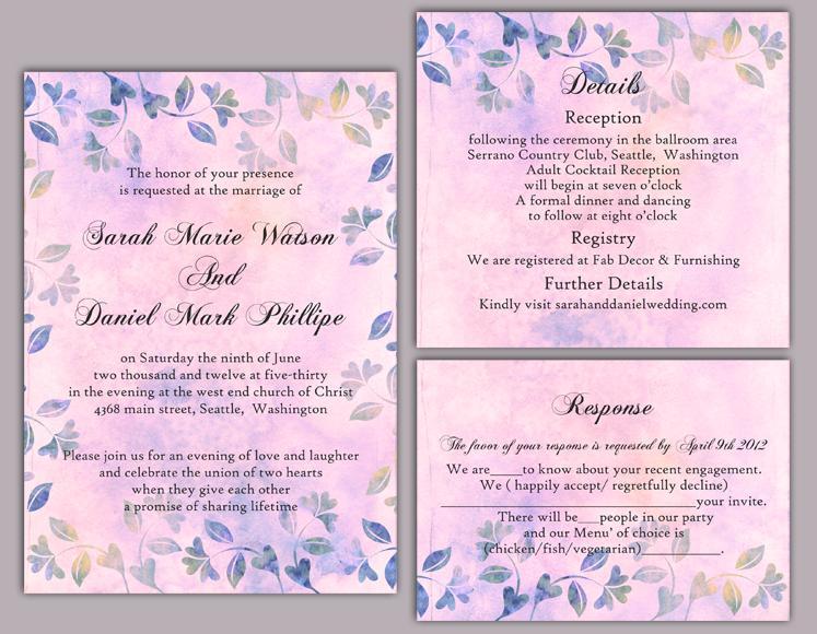 Vintage Invitation Template   Diy Rustic Wedding Invitation Template Set Editable Word File