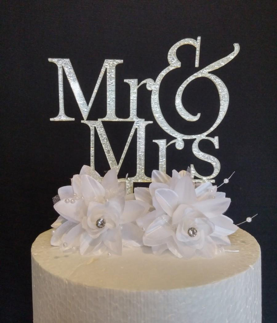 Hochzeit - ON SALE *** Silver Mr & Mrs Wedding Acrylic Cake Topper