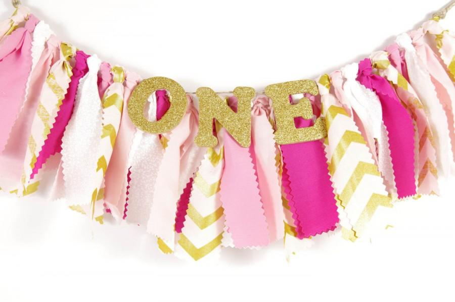 Mariage - Pink and Gold Girl's Birthday Party - Rag Banner - Photography Prop