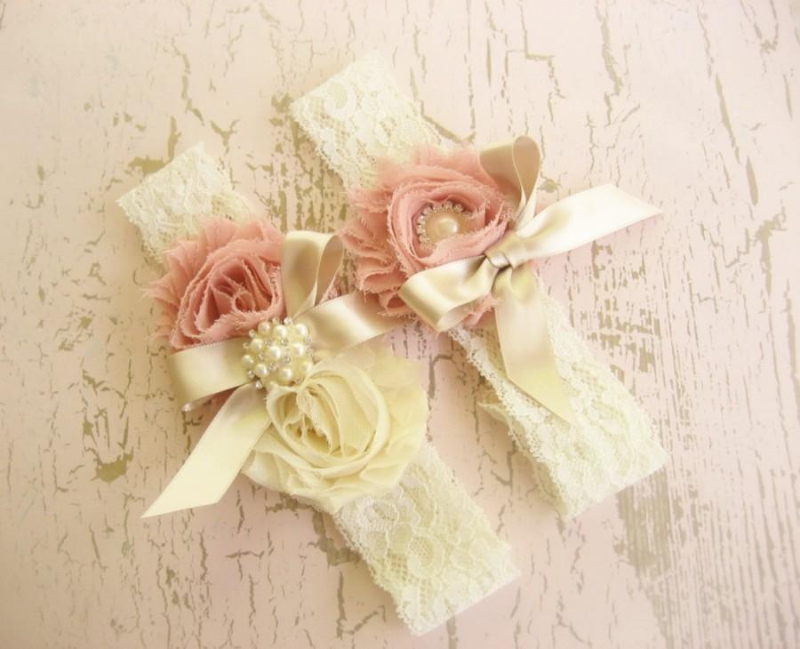 Mariage - Bridal Garter Heirloom Rose Wedding Garter Set with Toss Garter Heirloom Rose and Tea Stained Ivory with Rhinestones and Pearls