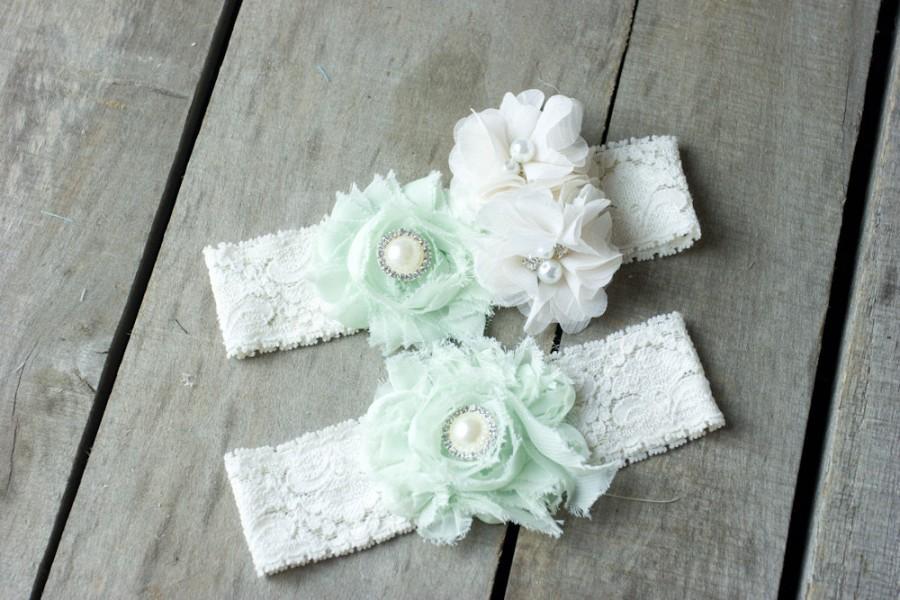Свадьба - Wedding Garter, Bridal Garter, Mint Green Garter, Lace Garter, Custom Garter