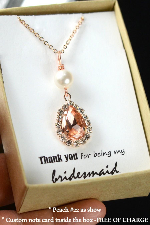 Rose Gold Necklace Soft Pink Necklace Blush Bridal Teardrop Necklace
