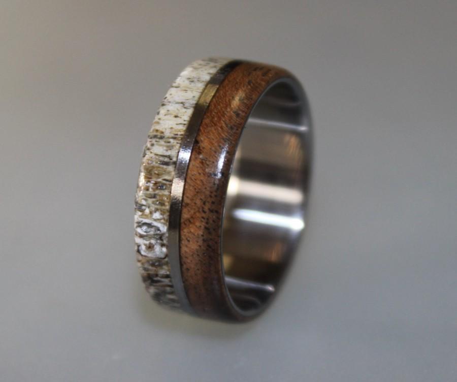 Titanium Ring Deer Antler Ring Antler Ring Mens Titanium Wedding