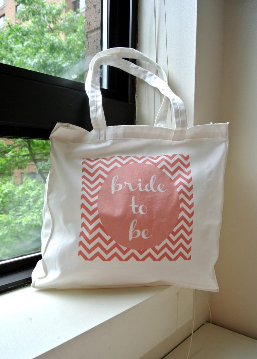 Свадьба - IMPERFECT Pink Chevron Bride to Be Tote - bridal shower, bachelorette party, bridal shower gifts, engagement gift
