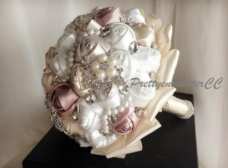 Hochzeit - Charming Champagne Roses Wedding Bouquet with Beads Rhinestones Crystal Satin Ribbon Pearls Bridal Bouquet BridesmaidBouquet Wedding Flowers