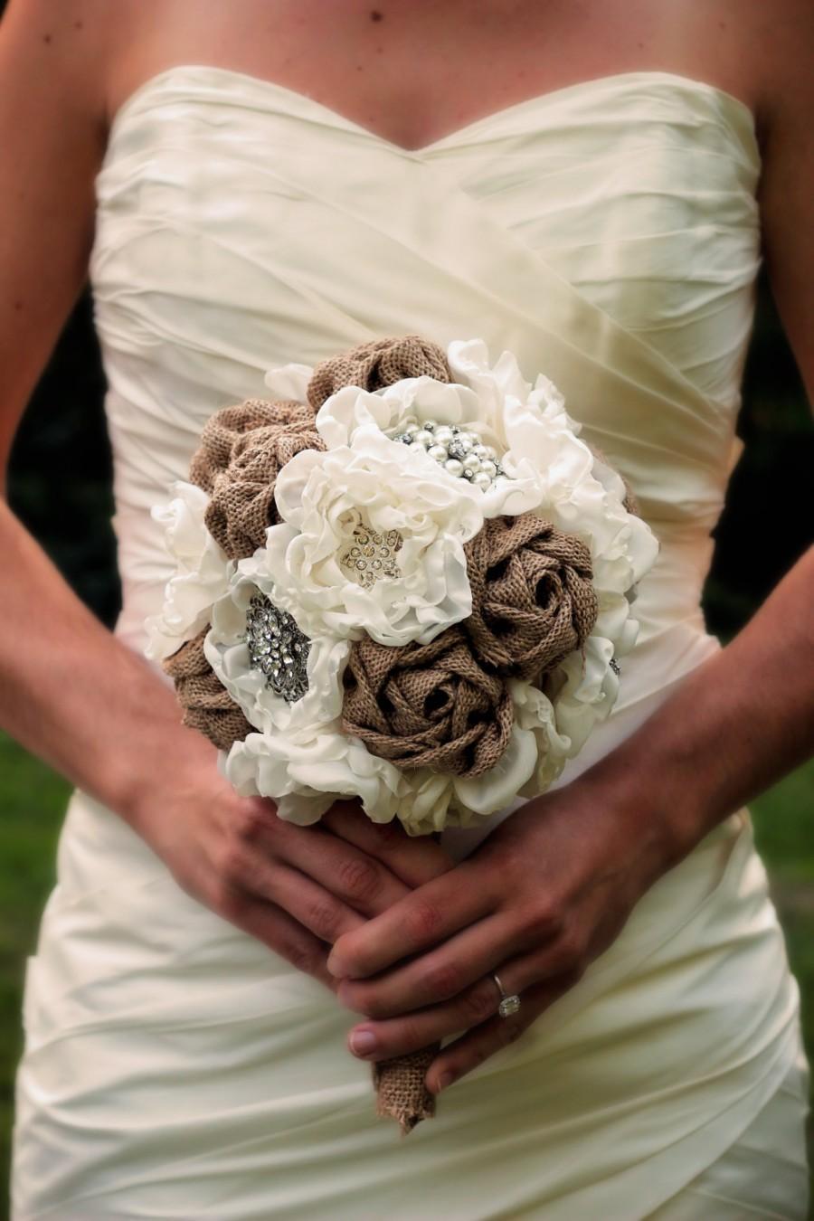 Wedding - Burlap Wedding Bouquet