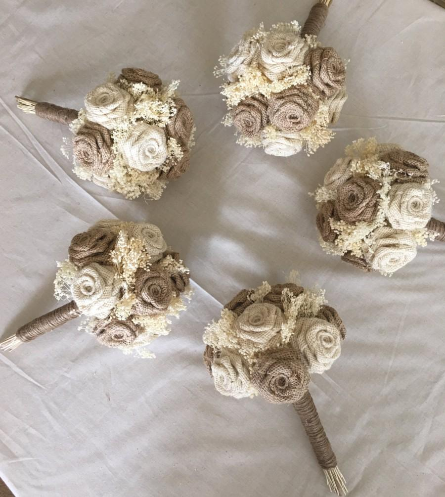 Свадьба - Bridesmaids Burlap Bouquet, Bridesmaids Bouquet, Ivory Burlap Bouquet, Burlap Wedding, Rustic Bouquets, Burlap Wedding Bouquets, 1 PIECE