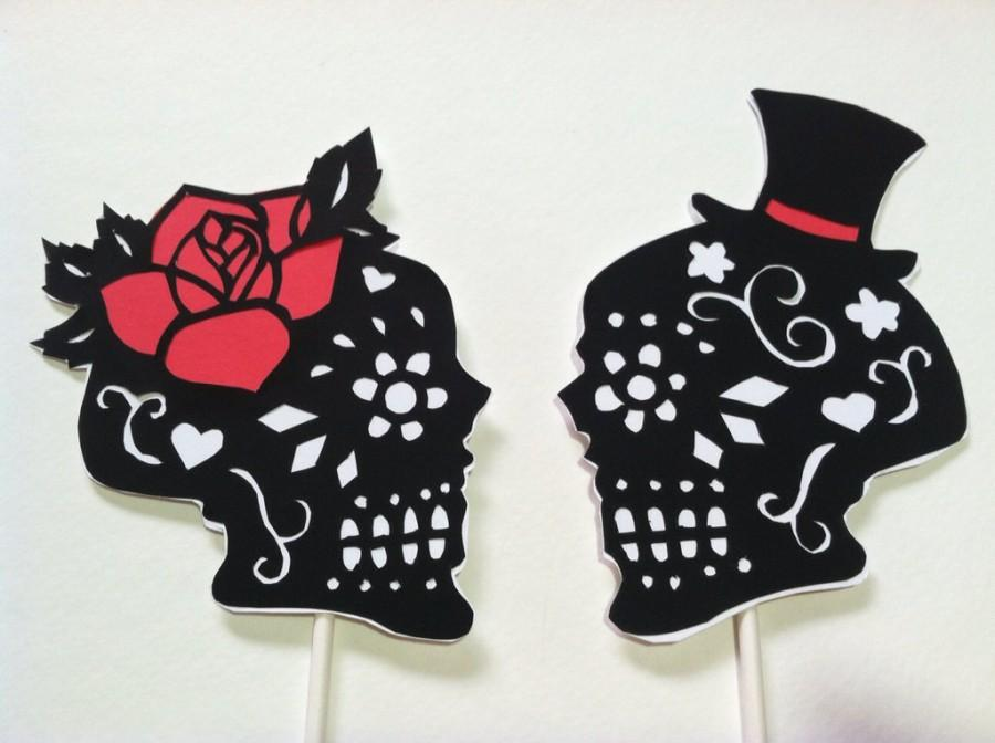 Day Of The Dead Skulls Wedding Cake Topper Silhouette Hand Cut Paper Original Art Black And White Set With Color Accent Your Choice