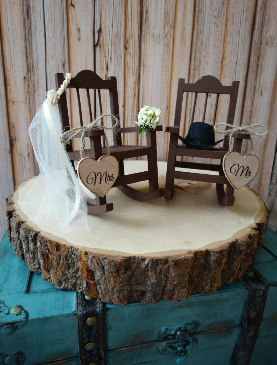 Свадьба - country-wedding-rocking chair-barn-rustic-cake topper-bride-groom-fall wedding-woodland-Mr-Mrs-wood-sign-country bride-ivory veil-western