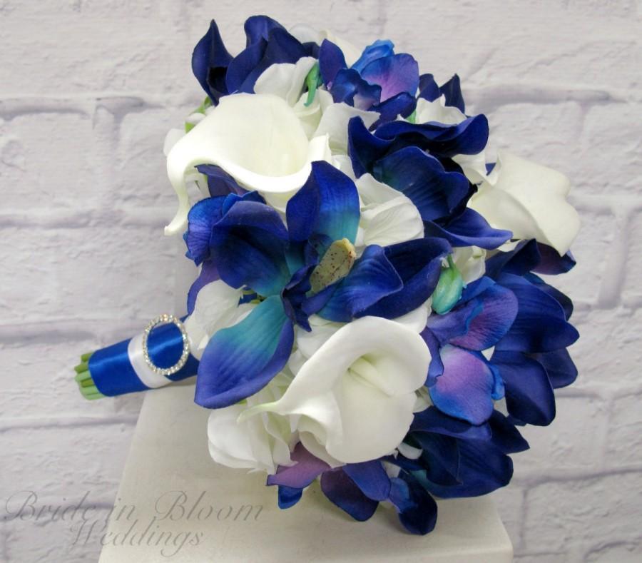 Mariage - Blue orchid calla lily wedding bouquet brides bouquet