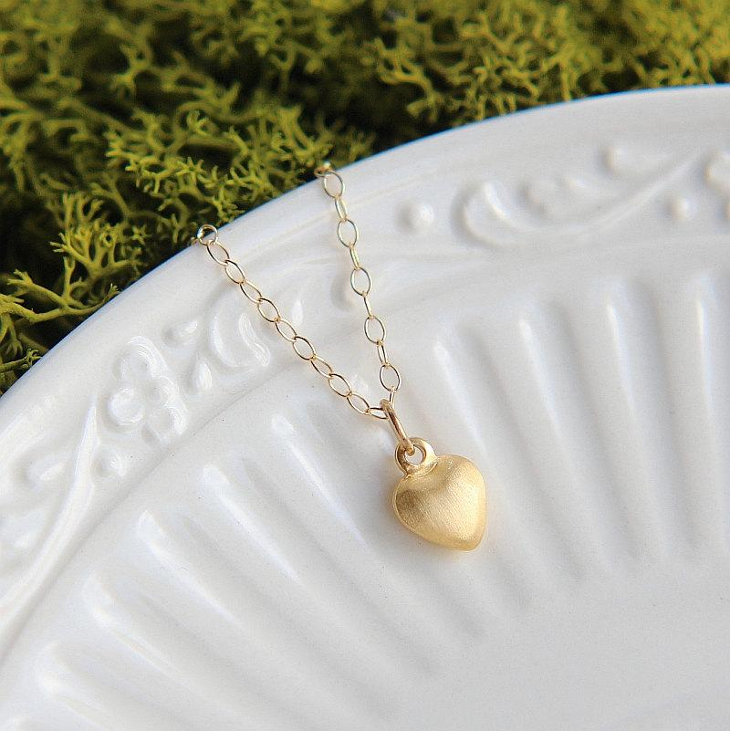 زفاف - Heart Necklace, Small Heart Necklace, Gold Heart Necklace, Tiny Gold Heart Necklace,Tiny Heart Necklace, Love Necklace, Minimalist necklace