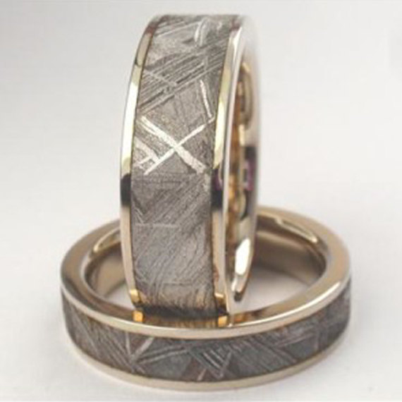60K White Gold Meteorite Rings With Widmanstatten Pattern His And Unique Widmanstatten Pattern