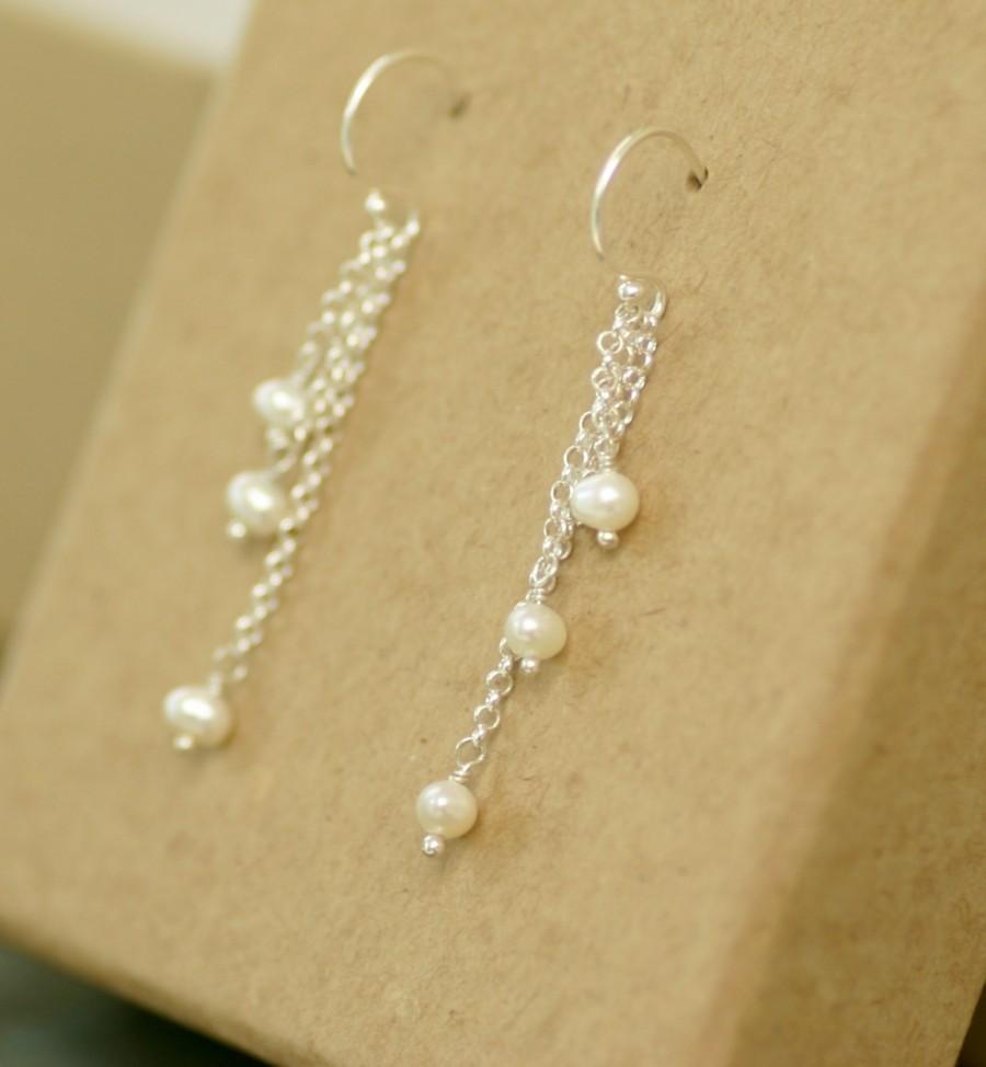 Pearl Earrings Bridal Cer Dangle Wedding Tel Long Hazel