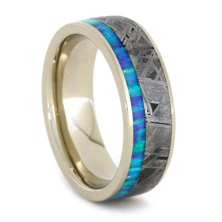 زفاف - Opal Ring with Gibeon Meteorite in 14k White Gold Band, Custom Designed Jewelry, Mens and Womens Wedding Band