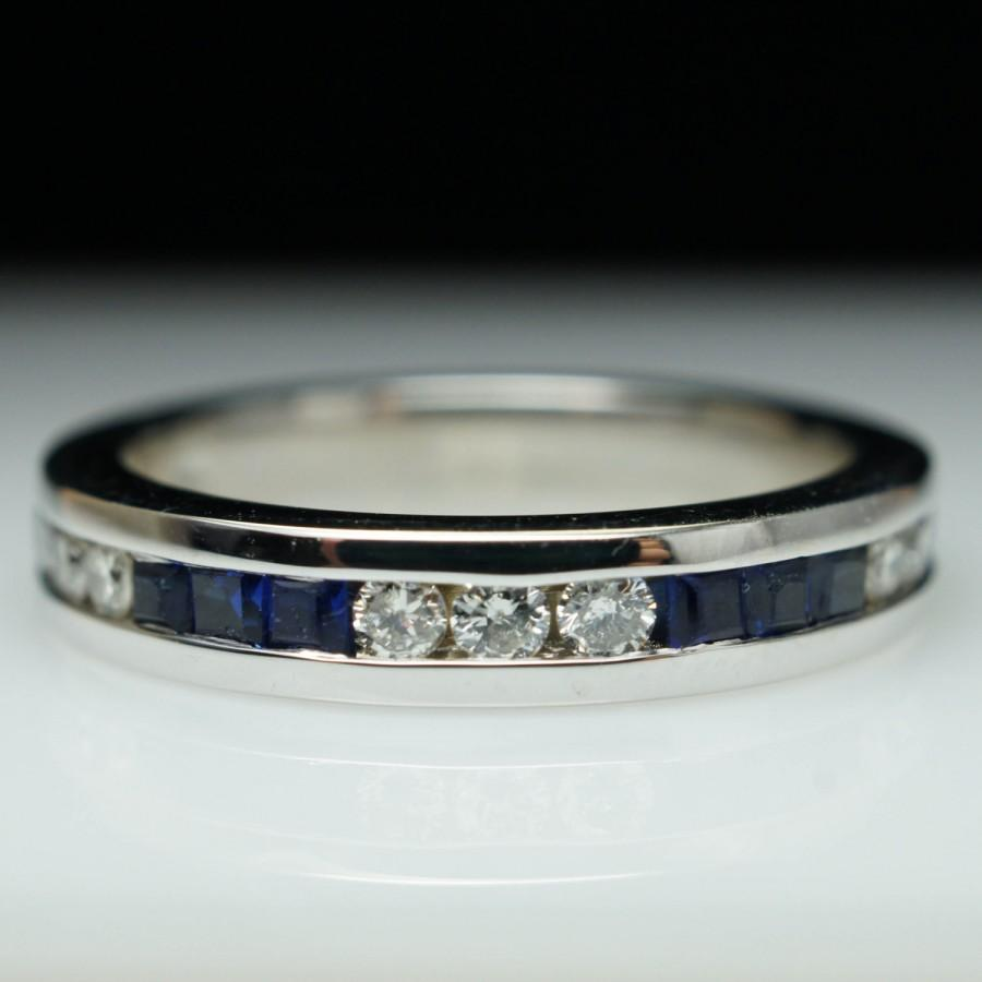 Vintage Sapphire Diamond Wedding Band 14k White Gold Anniversary Ring
