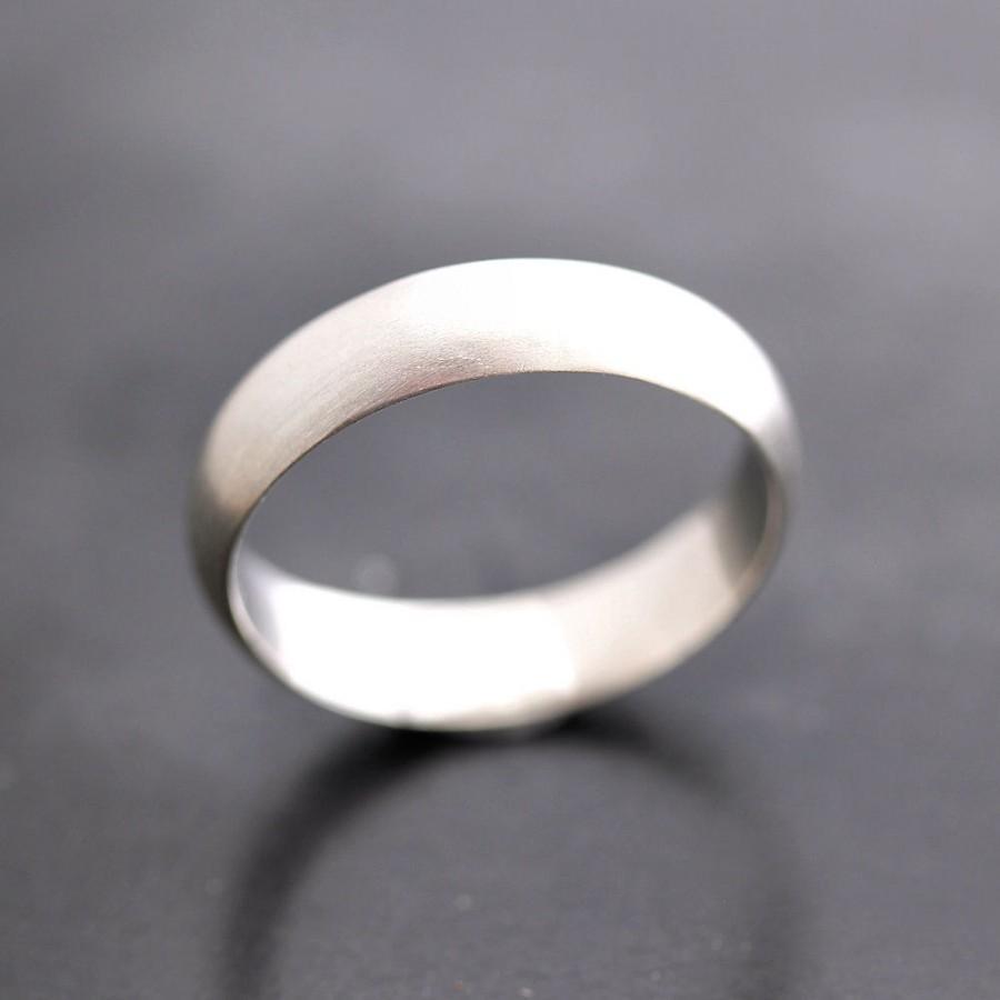 s wedding band matte 5mm half brushed unisex