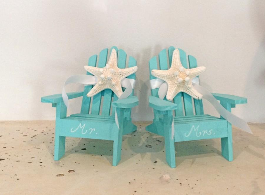 Beach Wedding Cake Topper   2 Mini Adirondack Chairs With Starfish   6 Chair  Colors   23 Ribbon Choices   Beach Theme/His And Hers