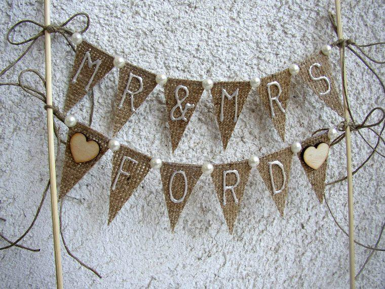 Mariage - Personalized Rustic Cake Topper - Rustic Mr Mrs Banner - Hessian Wedding Bunting - Mr Mrs Burlap Cake Topper - Custom Wedding Cake Topper