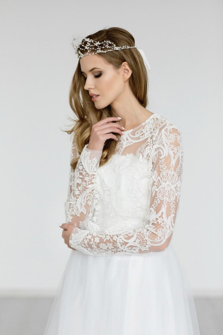 زفاف - Wedding Lace Top , Bridal Bolero ,Ivory  Lace Top , Back Button Lace Jacket ,Bridal Separates , Wedding Lace Cover Up ISABELLA