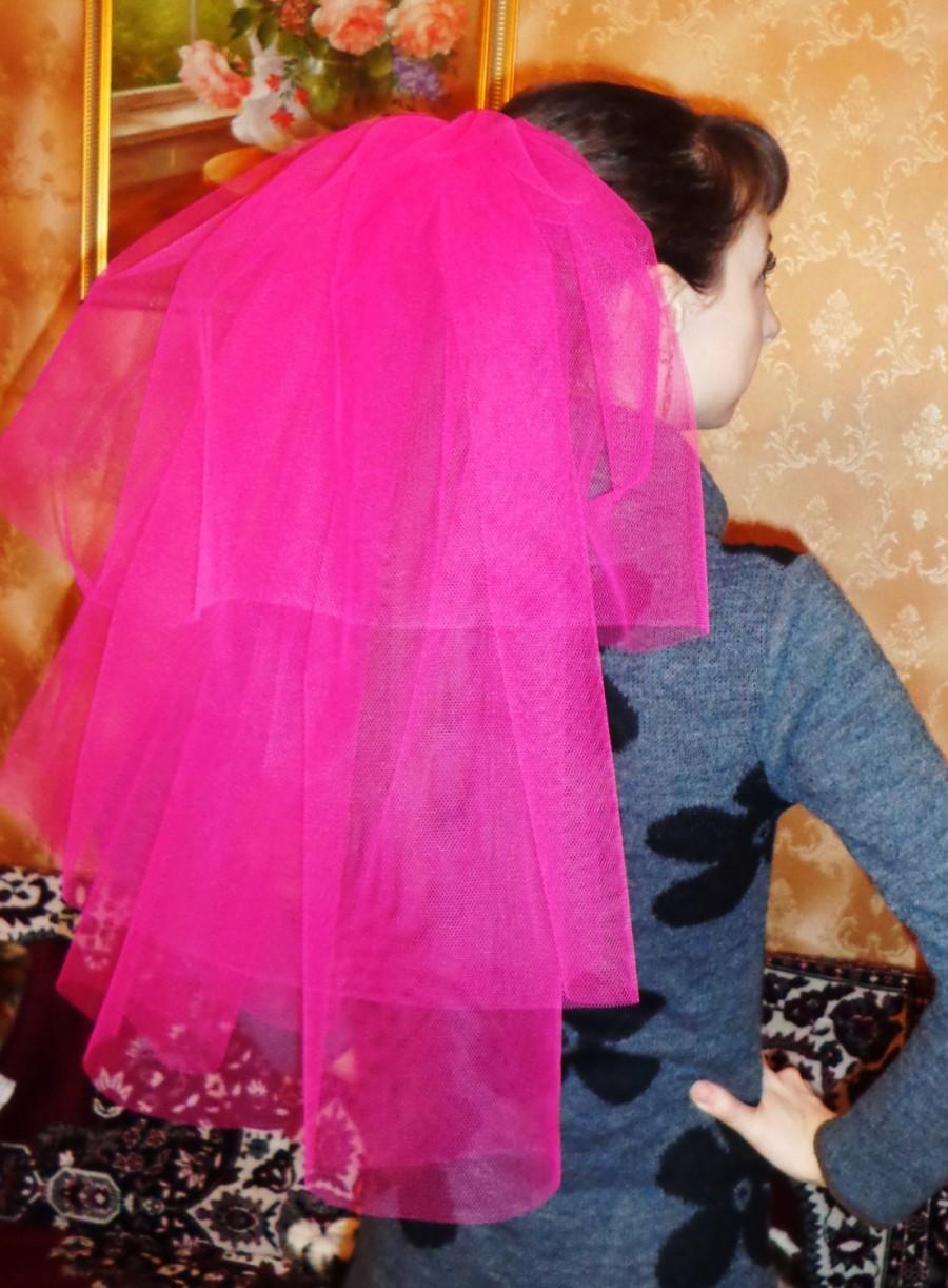 Свадьба - Bachelorette party 3-tier Veil hot pink , long length. Bride veil, accessory, bachelorette veil, hens party veil