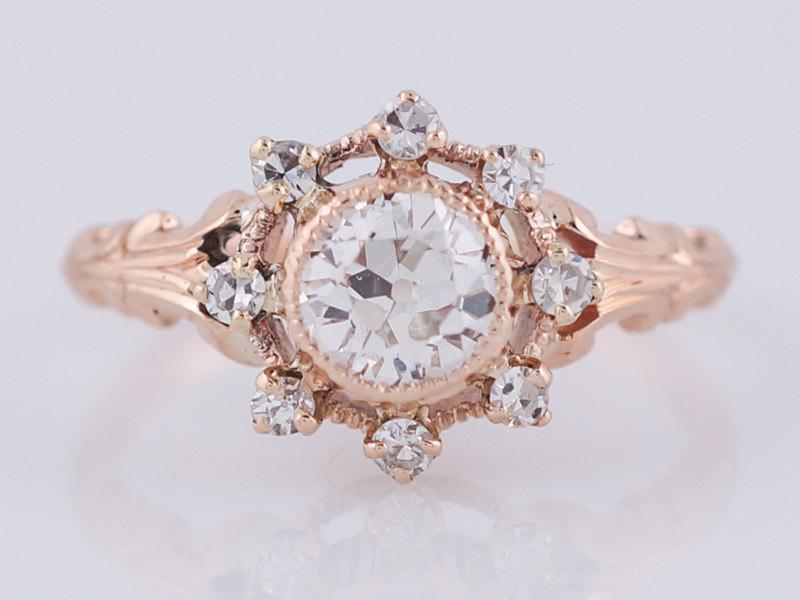 زفاف - Antique Engagement Ring Victorian .45ct Old European Cut Diamond in 14k Rose Gold