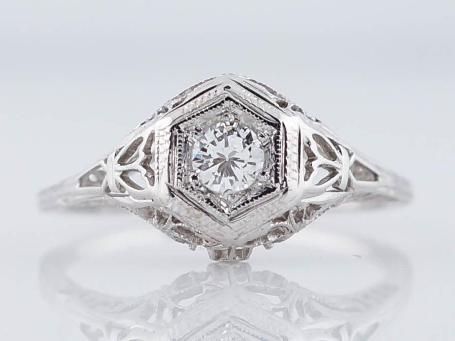 Wedding - Antique Engagement Ring Art Deco .18ct Round Brilliant Cut Diamond in 18k White Gold