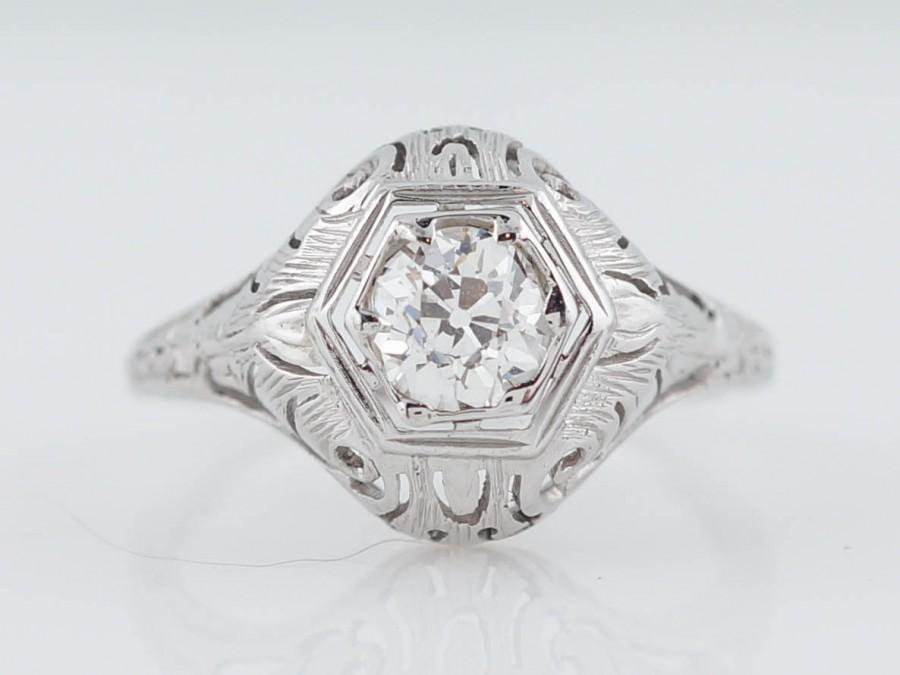Antique Engagement Ring Edwardian 58ct Old European Cut Diamond In 18k White