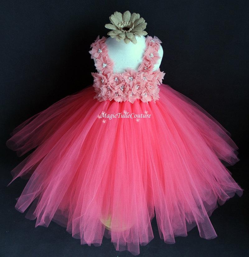Свадьба - Coral Flower Girl Tutu Dress Wedding Dress Tulle Dress Birthday Party Dress Toddler Dress 1T2T3T4T5T6T7T8T9T
